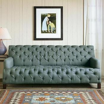 Robert Redford Linen Tufted Chesterfield Sofa