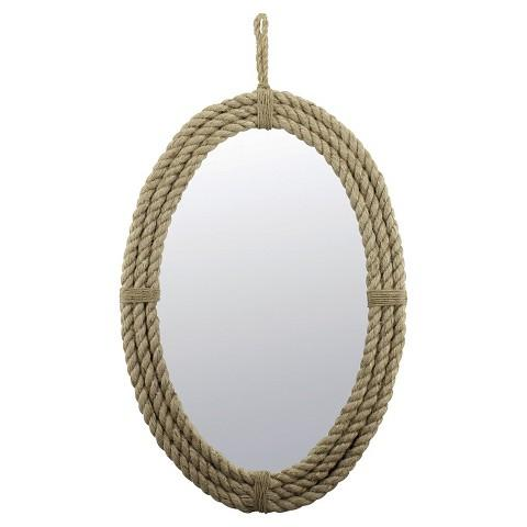 Natural Rope Oval Mirror with Loop Hanger Rope