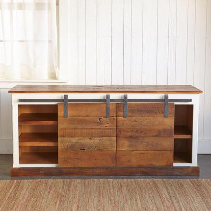 Winslow Media Stand With Wood Doors Pottery Barn
