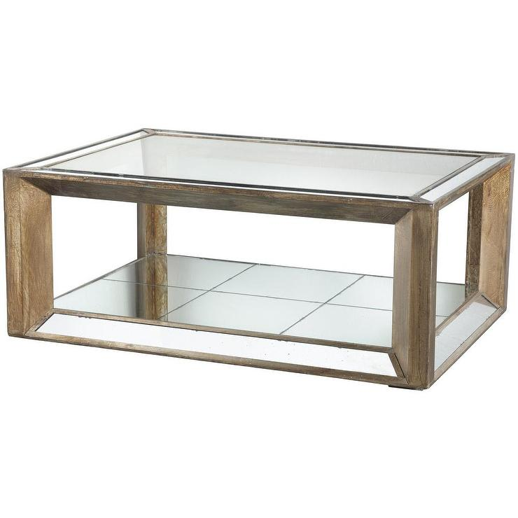 Champagne Distressed Wood Glass Mirrored Coffee Table