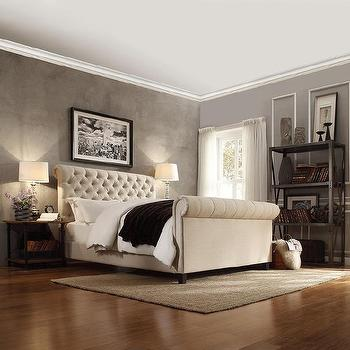 Knightsbridge Beige Linen Rolled Top Tufted Chesterfield Queen Bed With  Footboard