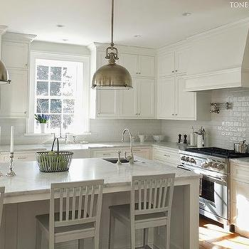 White on White Kitchen Design, Transitional, Kitchen, Farrow and Ball Pavilion Gray