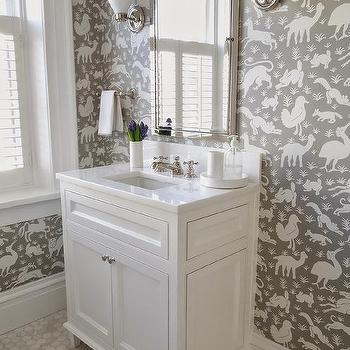Thibaut Nairobi Wallpaper. Shabby Chic Kids Bathroom Wallpaper Design Ideas