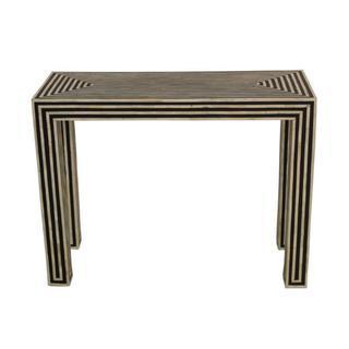 Stripped Bone Inlaid Black Bone Console Table