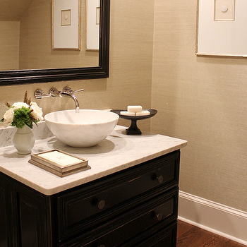 Tan and Black Powder Rooms, Transitional, Bathroom
