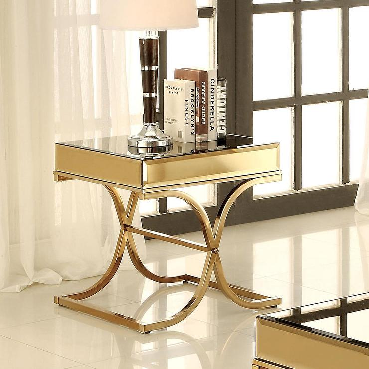 furniture of america orelia luxury xshaped gold metal end table