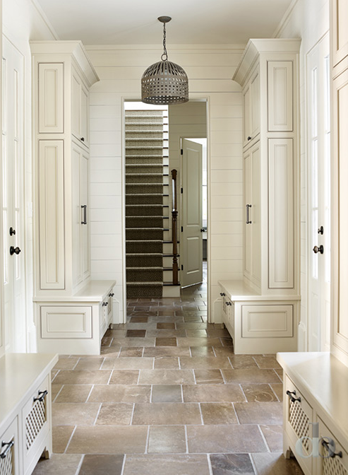 Mud Room Flooring : Mudroom with separate lockers transitional entrance foyer