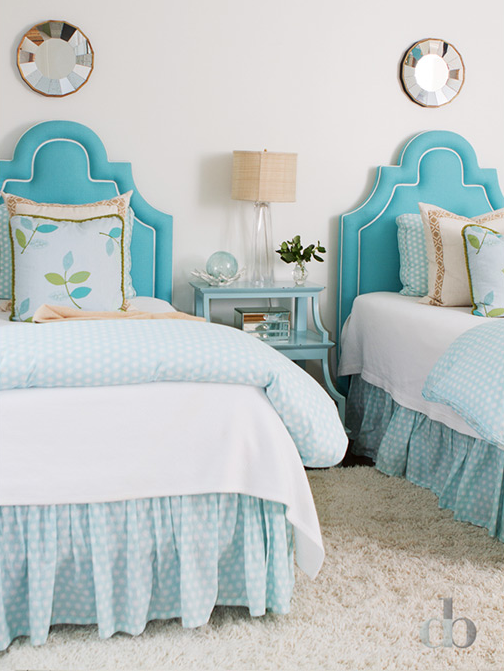kids turquoise headboards transitional girl s room blue girls bedroom with turquoise nailhead headboards and