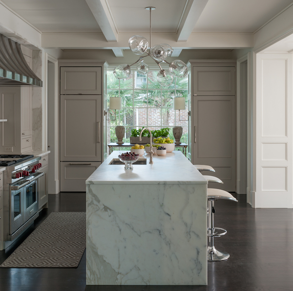 Island With Calcutta Gold Marble Waterfall Countertop