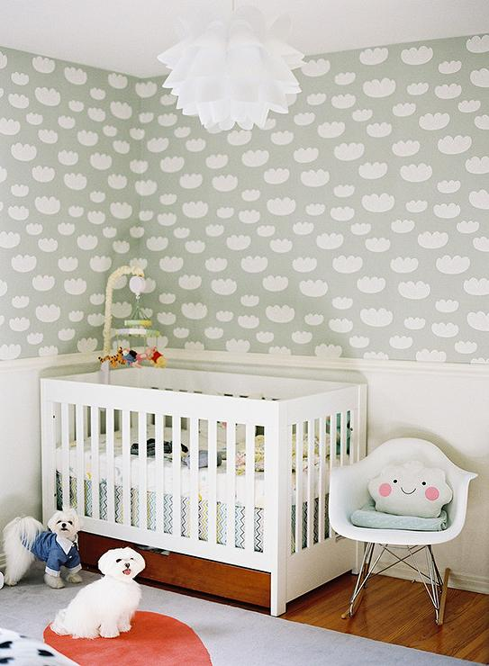 Chair Rail Nursery Part - 20: Adorable Nursery Features Upper Walls Clad In Ferm Living Cloud Wallpaper -  Mint And Lower Walls Painted White Finished With A White Chair Rail Lined  With A ...