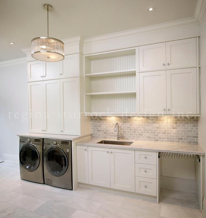 Awesome Laundry Room With Gray Mini Brick Backsplash
