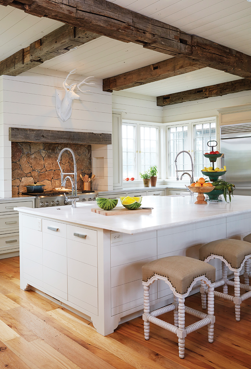 Country kitchen with rustic wood ceiling beams country kitchen Rustic style attic design a corner full of passion