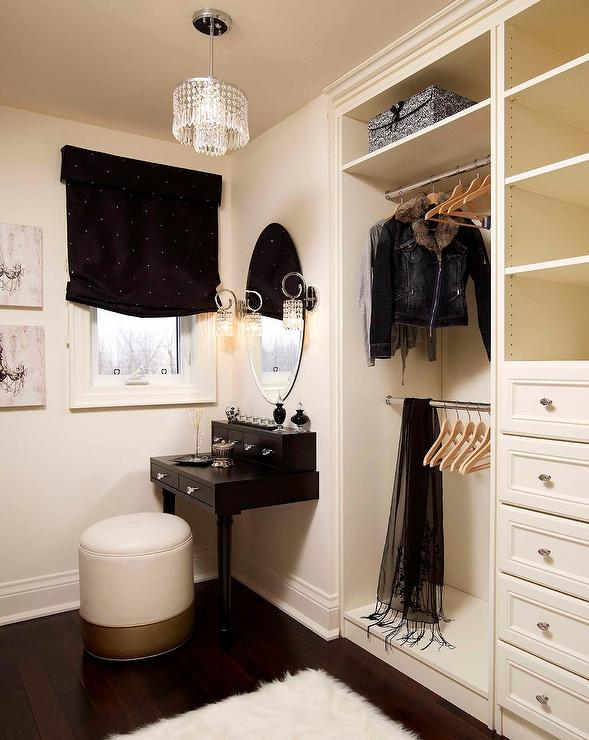 Elegant Closet With Black Makeup Vanity