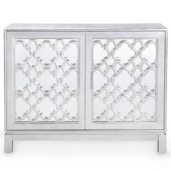 Anderson Mirrored Quatrefoil Silver Cabinet