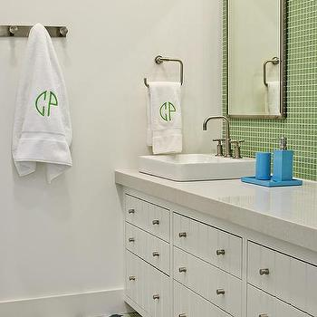 Green glass tiles contemporary bathroom sarah for Blue and green bathroom accessories