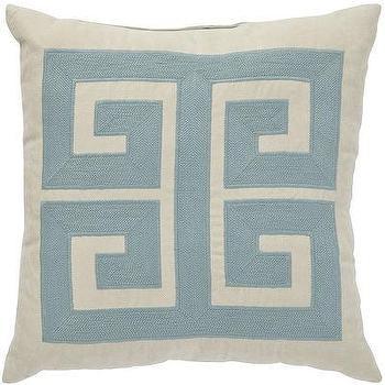 Blue Greek Key Pattern Pillow