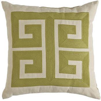 Green Greek Key Pattern Pillow