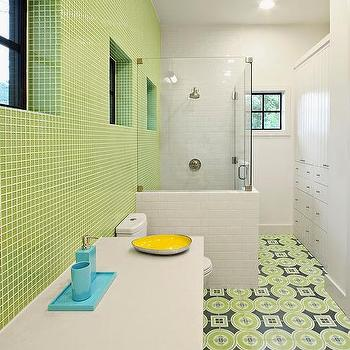 Blue and green kids bathrooms contemporary bathroom - Tile kids bathroom ...