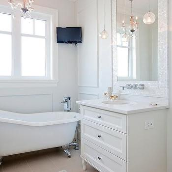 Mother Of Pearl Tiles Transitional Bathroom Real Rooms Design