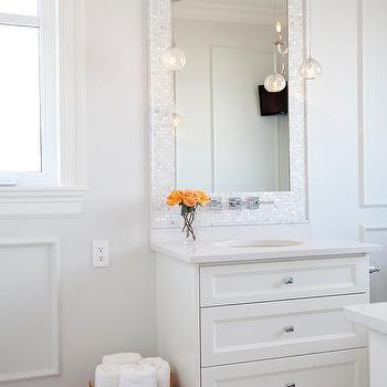 Mother of Pearl Tiled Mirror, Transitional, Bathroom, Benjamin Moore Dove Wing