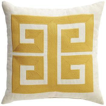Yellow Greek Key Pattern Pillow