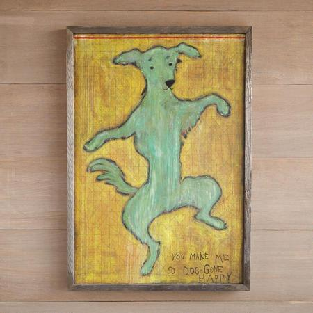 Doggone Happy Yellow and Green Framed Print