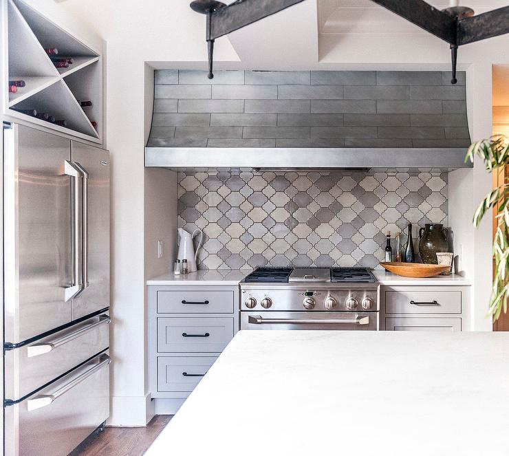 cooking nook with gray moroccan tile backsplash transitional kitchen