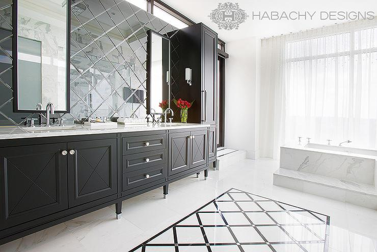 View Full Size. Stunning Master Bathroom Features A Black ...