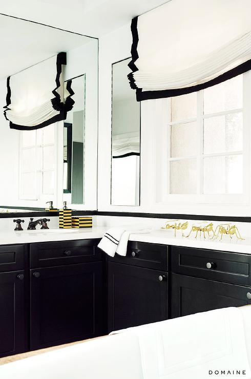 Black and white bathroom with gold accents contemporary for Black and white bathroom sets