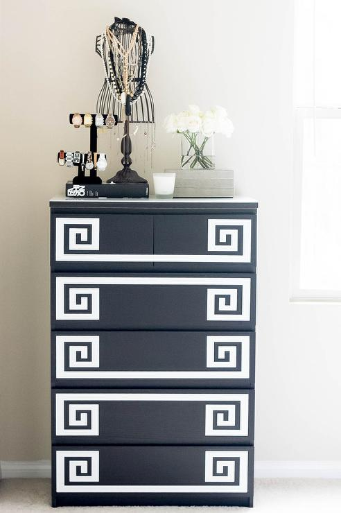 Master Bedroom Boasts A Black And White Greek Key Chest Of Drawers Boasting An Ikea Malm 6 Drawer Chest Accented With Etsy Lulukuku Greek Key Decals Topped
