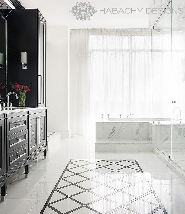 Marble Bathtub Steps Contemporary Bathroom