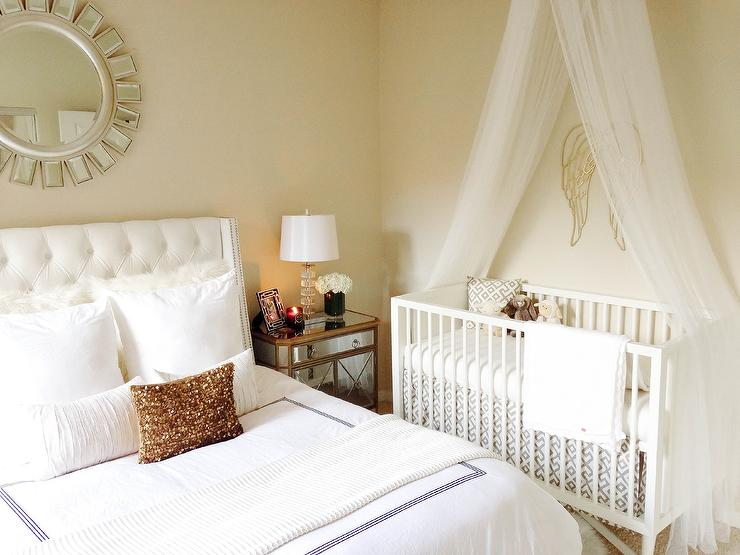 Nursery with tulle crib canopy transitional nursery Master bedroom plus nursery