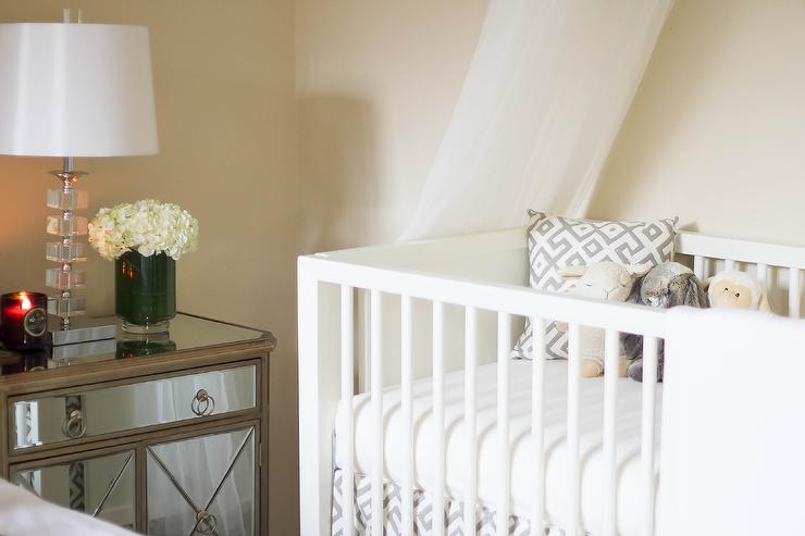 Mid Century Modern Crib With Gold And Gray Crib Bedding