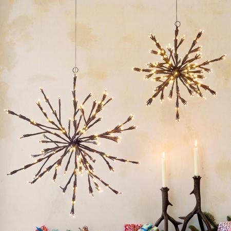 Led Starburst And Silver Ornament String Lights