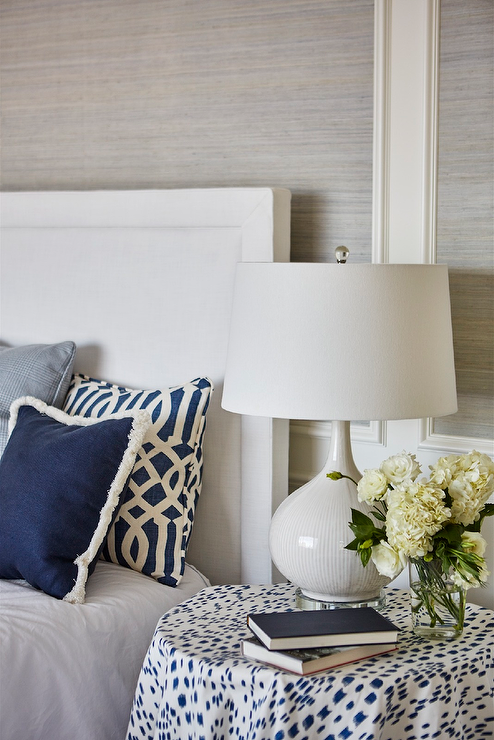 White And Navy Trellis Pillows Design Ideas