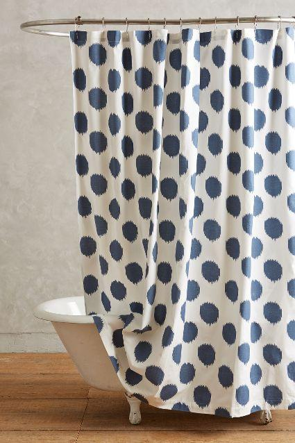 Ikat Blue Dot Shower Curtain