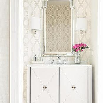 Art Deco Powder Room Design, Hollywood Regency, Bathroom