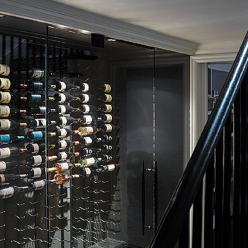 Basement Wine Cellar with Vertical Wine Racks, Contemporary, Basement