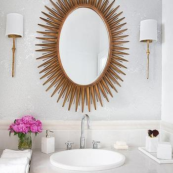 Dauphine Sconces in Gilded Iron, Transitional, Bathroom