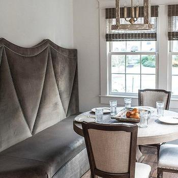 Gray Velvet Curved Banquette with Nailhead Trim, Transitional, Dining Room