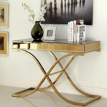 Furniture of America Orelia Luxury Gold Metal Sofa Table