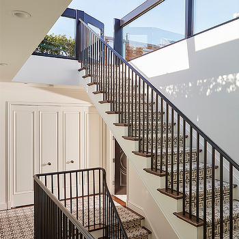 Staircase With Chain Link Stair Runner