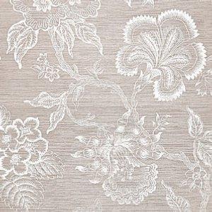 Schumacher Hothouse Flowers Sisal Haze and Chalk Wallpaper