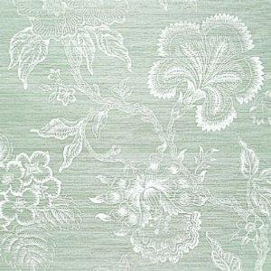 Schumacher Hothouse Flowers Sisal Seaglass and Chalk Wallpaper