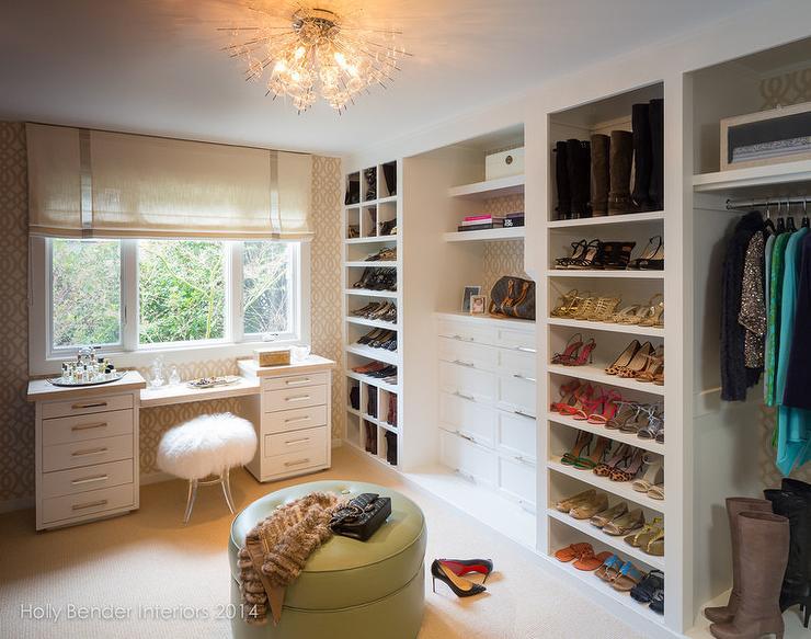 Walk In Closet With Trellis Wallpaper