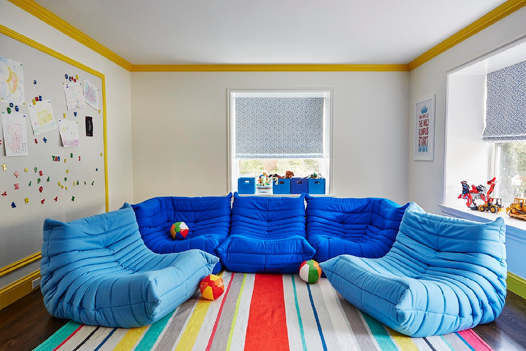 play room furniture. contemporary playroom features light gray paint on walls finished with yellow crown moldings and base boards lined an extralarge magnetic board play room furniture s