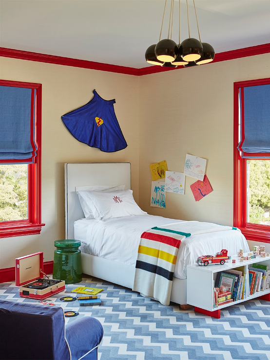 Superhero cape over kids bed design ideas for Blue and red boys bedroom ideas