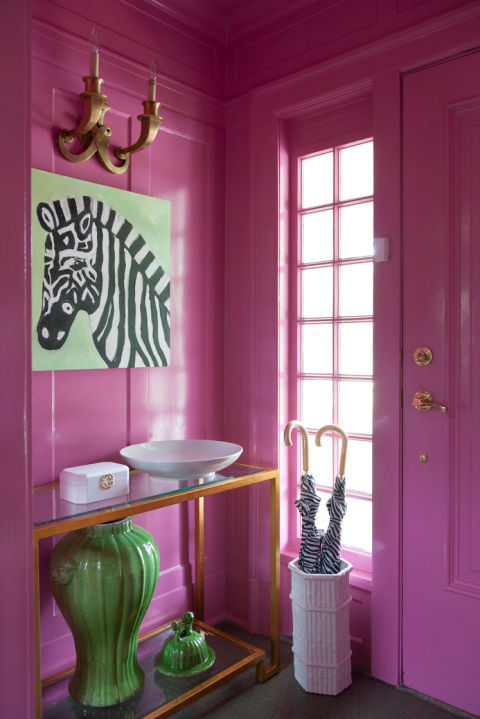 Hot Pink Chinoiserie Console Table With Gold Ornate Mirror