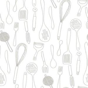 Kitchen Contours Grey and White Wallpaper
