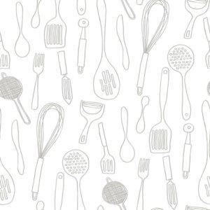 York Kitchen Contours Grey And White Wallpaper